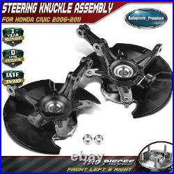 2Pcs Wheel Hub Bearing & Steering Knuckle Assembly for Honda Civic 06-11 Front