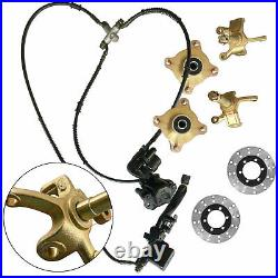 Front Steering Knuckle Spindle Wheel Assembly Caliper Rotor for Go Kart ATV Quad