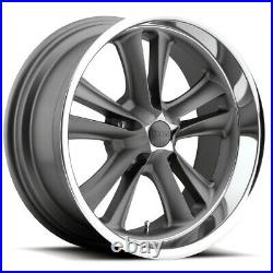 Staggered Foose F099 Knuckle 18x8,18x9.5 5x4.75 +1mm Textured Gray Wheels Rims